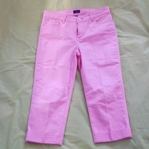 NYDJ pink cropped jeans with embellishments on hem